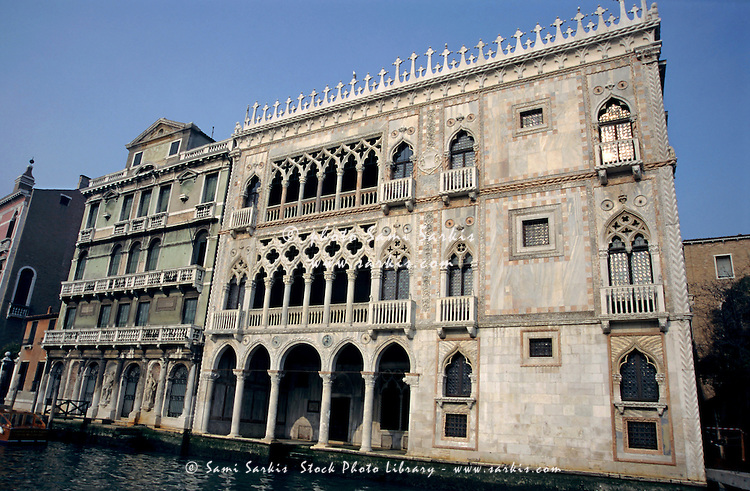 Buildings along the Grand Canal, Venice, Italy.