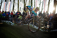 Daan Soete (BEL/Telenet-Fidea) on the pump track pulling a little back wheelie<br /> <br /> Azencross Loenhout 2014