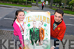 Kerry's Eye Jedward 'Meet and Greet' winner Holly Moriarty from Tralee with Hank Moriarty waiting for Jedward on Friday.