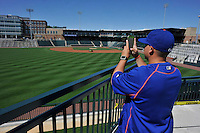Strength and conditioning coach Alex Tavarez of the Columbia Fireflies takes a photo on Sunday, April 3, 2016, the team's first day at the new Spirit Communications Park in Columbia, South Carolina. The Class A South Atlantic League Mets affiliate moved here this year from Savannah. (Tom Priddy/Four Seam Images)
