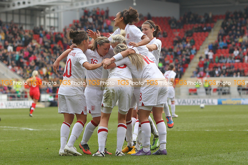 Ellen White celebrates scoring the winning goal for England with her team mates - England Women vs Canada Women - International Football Friendly Match at the New York Stadium, Rotherham United FC - 07/04/13 - MANDATORY CREDIT: Gavin Ellis/TGSPHOTO - Self billing applies where appropriate - 0845 094 6026 - contact@tgsphoto.co.uk - NO UNPAID USE.