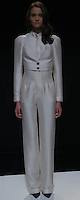 """JILIAN (FORD)- white puff sleeve blouse, white vets, white high waist trouser, black pointy toe heel with strap"", Mercedes Benz Fashion Week, Marissa Webb fall/holiday 13, NYC, Feburary 09 2013"