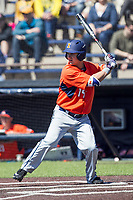 Illinois Fighting Illini outfielder Dan Rowbottom (19) at bat against the Michigan Wolverines during the NCAA baseball game on April 8, 2017 at Ray Fisher Stadium in Ann Arbor, Michigan. Michigan defeated Illinois 7-0. (Andrew Woolley/Four Seam Images)