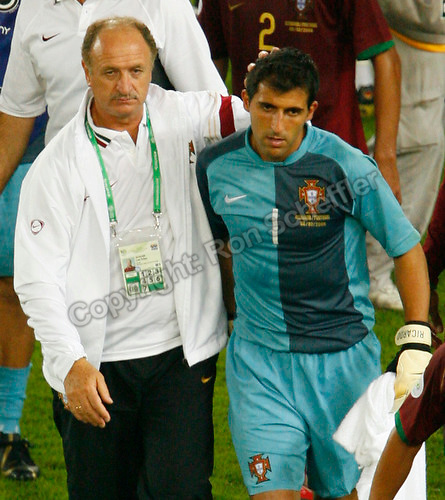 Jul 8, 2006; Stuttgart, GERMANY; Portugal coach Luiz Felipe Scolari and goalkeeper (1) Ricardo leave the field following their 3-1 loss to Germany for third place in the 2006 FIFA World Cup at Gottlieb-Daimler-Stadion, Stuttgart. Mandatory Credit: Ron Scheffler-US PRESSWIRE Copyright © Ron Scheffler.
