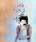 Concept image of a young woman on a smartphone her hair is turning into birds and flying away depicting loss of connection with the real world