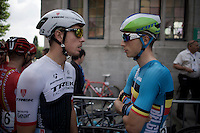 Jens Keukeleire (BEL/Orica-GreenEDGE) in the Belgian National Teams Jersey &amp; Boy van Poppel (NLD/Trek Factory Racing)<br /> <br /> Halle-Ingooigem 2015 <br /> start