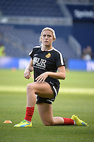 Kansas City, Kansas - Saturday April 16, 2016: Western New York Flash midfielder Abby Dahlkemper (13) warms up before the game against FC Kansas City at Children's Mercy Park. Western New York won 1-0.