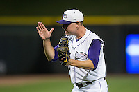 Winston-Salem Dash relief pitcher Brad Goldberg (30) reacts after closing out the win over the Myrtle Beach Pelicans at BB&T Ballpark on September 9, 2015 in Winston-Salem, North Carolina.  The Dash defeated the Pelicans 4-2 to take a 1-0 lead in the best of 3 series. (Brian Westerholt/Four Seam Images)