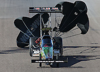 Feb. 23, 2013; Chandler, AZ, USA; NHRA top fuel dragster driver Terry McMillen during qualifying for the Arizona Nationals at Firebird International Raceway. Mandatory Credit: Mark J. Rebilas-