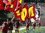 14 October 2006: Florida State cheerleaders run flags through the endzone after a touchdown. The Florida State University Seminoles defeated the Duke University Blue Devils 51-24 at Wallace Wade Stadium in Durham, North Carolina in an Atlantic Coast Conference NCAA Division I College Football game.