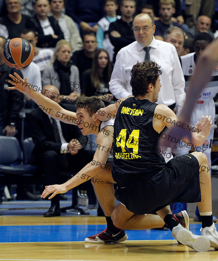 Kosarka Euroleague season 2013-2014<br /> Euroleague<br /> Partizan v Barcelona<br /> Bogdan Bogdanovic (L) Ante Tomic and head coach Dusko Vujosevic<br /> Beograd, 21.11.2013.<br /> foto: Srdjan Stevanovic/Starsportphoto &copy;