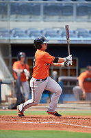 Baltimore Orioles Trevor Craport (59) hits a single during a Florida Instructional League game against the Tampa Bay Rays on October 1, 2018 at the Charlotte Sports Park in Port Charlotte, Florida.  (Mike Janes/Four Seam Images)