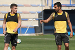 Getafe's Francisco Portillo (l) and Angel Rodriguez during training session. May 25,2020.(ALTERPHOTOS/Acero)