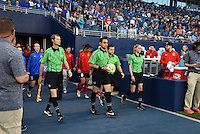 Kansas City, Kansas - Saturday April 16, 2016: Officials walk onto the pitch before the game between FC Kansas City and Western New York Flash at Children's Mercy Park. Western New York won 1-0.