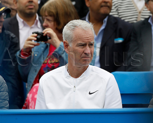 18.06.2016. Queens Club, London, England. Aegon Queens Tennis Championships Day Six. Four-time Queen's winner John McEnroe, coaching Milos Raonic (CAN) in his semi final match against Bernard Tomic (AUS). Raonic won in straight sets 6-4, 6-4 and meets Andy Murray (GBR) in tomorrow's final.