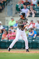Arkansas Travelers second baseman Nelson Ward (5) at bat during a game against the Frisco RoughRiders on May 28, 2017 at Dickey-Stephens Park in Little Rock, Arkansas.  Arkansas defeated Frisco 17-3.  (Mike Janes/Four Seam Images)