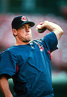 Brian Giles of the Cleveland Indians during a game at Anaheim Stadium in Anaheim, California during the 1997 season.(Larry Goren/Four Seam Images)