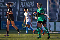 Portland, OR - Sunday March 11, 2018: Kelli Hubly, Britt Eckerstrom during a National Women's Soccer League (NWSL) pre season match between the Portland Thorns FC and the Chicago Red Stars at Merlo Field.