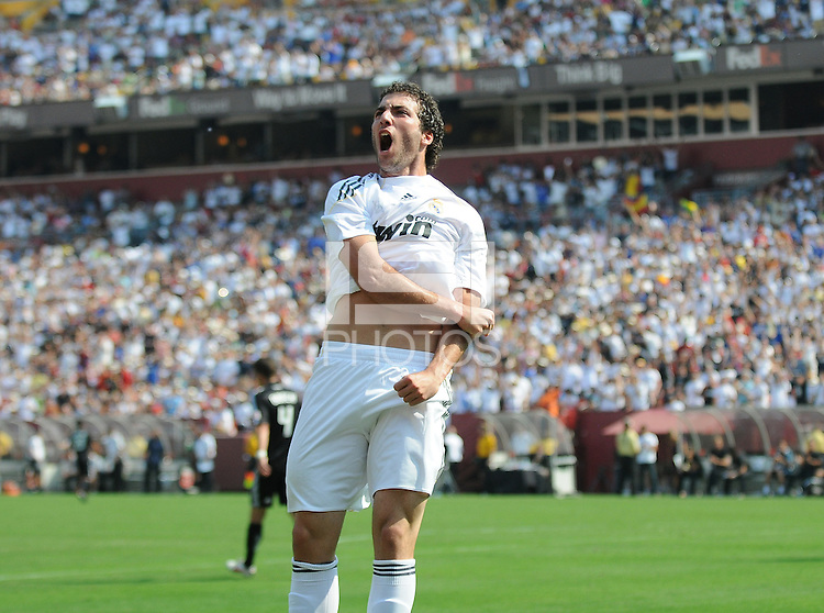 Real Madrid forward Gonzalo Higuain (20) celebrates his goal. Real Madrid defeated DC United 3-0 at FedEx Field, Sunday August 9, 2009 in an International Friendly.