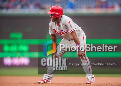 28 April 2016: Philadelphia Phillies third baseman Maikel Franco takes a lead off first during game action against the Washington Nationals at Nationals Park in Washington, DC. The Phillies shut out the Nationals 3-0 to sweep their mid-week, 3-game series. Mandatory Credit: Ed Wolfstein Photo *** RAW (NEF) Image File Available ***