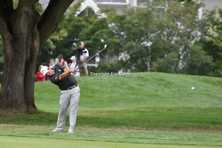 August 6, 2016:  Brian Stuard hits from the edge of the 6th fairway during day three of the PGA Travelers Championship held at TPC River Highlands in Cromwell CT. Eric Canha/CSM