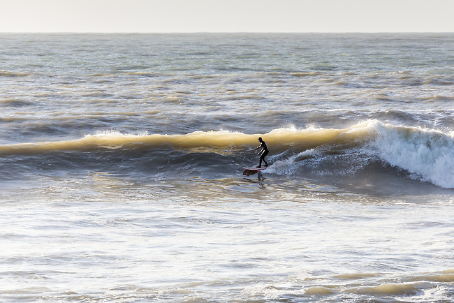 Surfing at Freshwater Bay, Isle of Wight