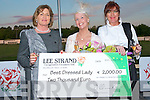 BEST DRESSED LADY: Gillian Kelleher winner of the Lee Strand Best Dressed Lady Competition being presented with her EUR2,000 prize by competition judge's Noreen McManus and Kate Hartigan at the Lee Strand evening of racing at the Kingdom Greyhound Stadium on Friday night..   Copyright Kerry's Eye 2008