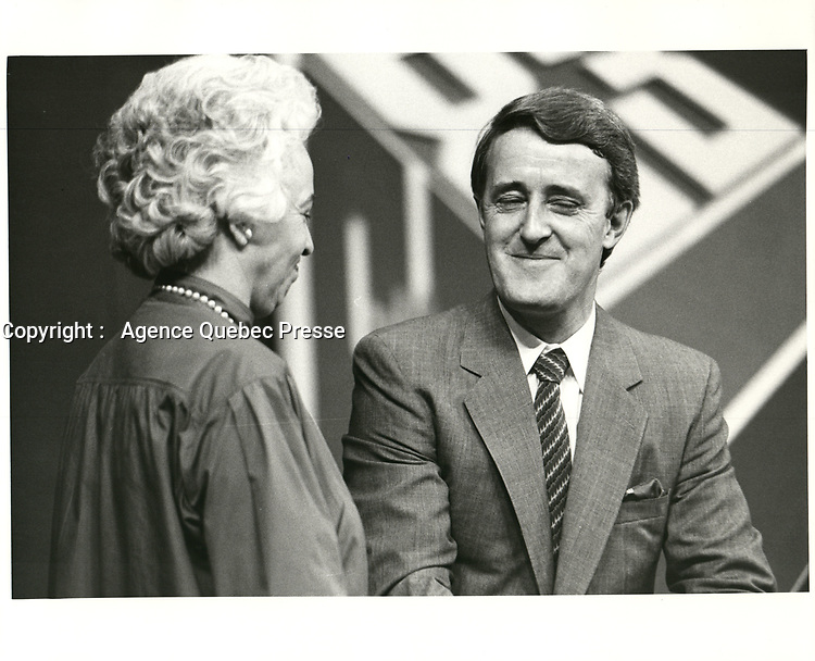 Brian Mulroney lors du congres a la chefferie du PC, en mars 1983, a Ottawa.<br /> <br /> PHOTO : agence quebec presse