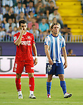 19.09.2010, Malaga, Estadio La Rosaleda, ESP, Primera Division, FC Malaga vs FC Sevilla, im Bild Álvaro Negredo a Sevilla forward player and Selim Benachour the Malaga midfielder in action during the La Liga match between CF Malaga and Sevilla, played in the La Rosaleda Stadium, Malaga Spain. EXPA Pictures © 2010, PhotoCredit: EXPA/ M. Gunn