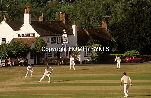 Village cricket at The Barley Mow, Tilford Surrey England