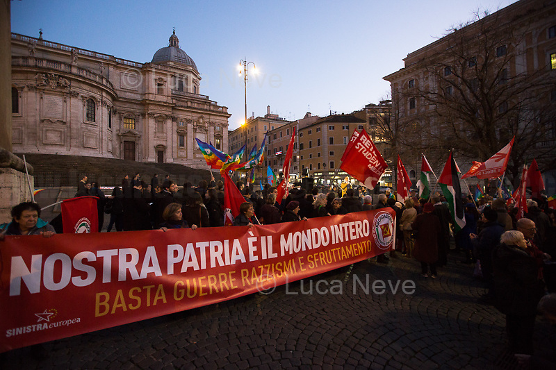 "Rome, 25/01/2020. Today, Rete della Pace – supported by numerous organizations, including CGIL, ANPI and Libera – held a demonstration for Peace in Piazza dell'Esquilino called ""Spegniamo La Guerra, Accendiamo La Pace"" (Let's turn off the war, let's turn on Peace, 1.).<br /> <br /> Footnotes & Links:<br /> 1. http://bit.do/fqxs9"