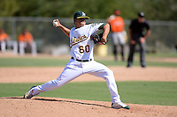 Oakland Athletics pitcher Jesus Zambrano (60) during an instructional league game against the San Francisco Giants on September 27, 2013 at Papago Park Baseball Complex in Phoenix, Arizona.  (Mike Janes/Four Seam Images)