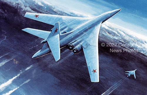 """United States Department of Defense released its 1985 assessment of Soviet Military Power at the Pentagon in Washington, DC on April 2, 1985.  The release stated """"full scale production of the new BLACKJACK manned strategic bomber, now in development, is expected to take place in the new complex being added to the USSR's Kazan Airframe Plant.""""<br /> Credit: Department of Defense via CNP"""