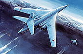 "United States Department of Defense released its 1985 assessment of Soviet Military Power at the Pentagon in Washington, DC on April 2, 1985.  The release stated ""full scale production of the new BLACKJACK manned strategic bomber, now in development, is expected to take place in the new complex being added to the USSR's Kazan Airframe Plant.""<br /> Credit: Department of Defense via CNP"