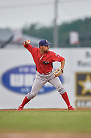 Williamsport Crosscutters second baseman Jake Scheiner (3) throws to first base during a game against the Batavia Muckdogs on August 3, 2017 at Dwyer Stadium in Batavia, New York.  Williamsport defeated Batavia 2-1.  (Mike Janes/Four Seam Images)