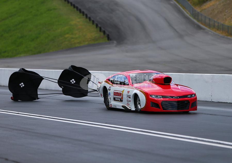 Jun 17, 2017; Bristol, TN, USA; NHRA pro mod driver Khalid Albalooshi during qualifying for the Thunder Valley Nationals at Bristol Dragway. Mandatory Credit: Mark J. Rebilas-USA TODAY Sports