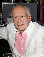 "27 September 2017 - Hugh Marston Hefner aka ""Hef"" was an American magazine publisher, editor, businessman, and international playboy best known as the editor-in-chief and publisher of Playboy magazine, which he founded in 1953. Hefner was the founder and chief creative officer of Playboy Enterprises, the publishing group that operates the magazine. Hefner was also a political activist and philanthropist. File Photo: 9 May 2013 - Hombly Hills, California - Hugh Hefner. Playboy's 2013 Playmate Of The Year Luncheon Honoring Raquel Pomplun Held At The Playboy Mansion. Photo Credit: Kevan Brooks/AdMedia (Newscom TagID: admphotos907451.jpg) [Photo via Newscom]"