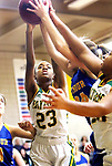 WATERBURY CT. 16 February 2018-021619SV20-#23 Cayla Howard of Holy Cross and #24 Jacey Cosciello of Seymour High battle for the rebound during the NVL girl&rsquo;s basketball tournament in Waterbury Saturday.<br /> Steven Valenti Republican-American
