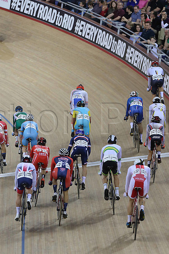 05.03.2016. Lee Valley Velo Centre, London, England. UCI Track Cycling World Championships Mens Omnium.  The Peloton