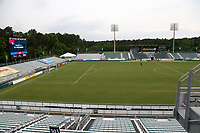 Cary, North Carolina  - Wednesday May 24, 2017: View of the southern half of the field of Sahlen's Stadium prior to a regular season National Women's Soccer League (NWSL) match between the North Carolina Courage and the Sky Blue FC at Sahlen's Stadium at WakeMed Soccer Park. The Courage won the game 2-0.