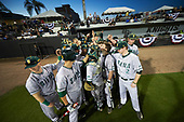 Siena Saints team huddle before a game against the UCF Knights on February 17, 2017 at UCF Baseball Complex in Orlando, Florida.  UCF defeated Siena 17-6.  (Mike Janes/Four Seam Images)