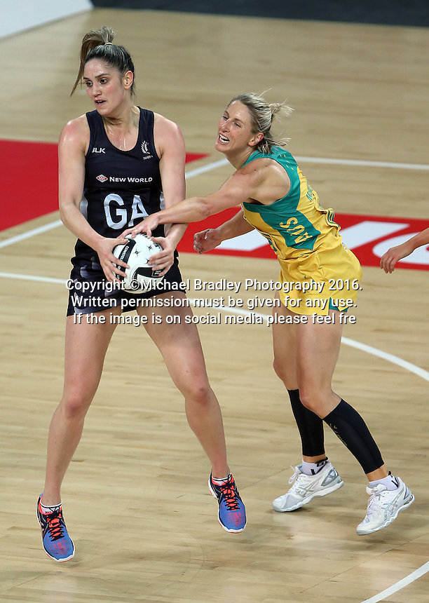 15.10.2016 Silver Ferns Te Paea Selby-Rickit and Australia's Clare McMeniman in action during the Silver Ferns v Australia netball test match played at Vector Arena in Auckland. Mandatory Photo Credit ©Michael Bradley.