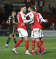 Fleetwood Town's Ched Evans celebrates scoring his sides second goal <br /> <br /> Photographer Mick Walker/CameraSport<br /> <br /> Emirates FA Cup Third Round - Fleetwood Town v AFC Wimbledon - Saturday 5th January 2019 - Highbury Stadium - Fleetwood<br />  <br /> World Copyright © 2019 CameraSport. All rights reserved. 43 Linden Ave. Countesthorpe. Leicester. England. LE8 5PG - Tel: +44 (0) 116 277 4147 - admin@camerasport.com - www.camerasport.com