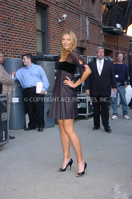 WWW.ACEPIXS.COM . . . . .  ....September 11, 2006, New York City. ....Maria Sharapova arrives at the Letterman Show. ....Please byline: AJ Sokalner - ACEPIXS.COM..... *** ***..Ace Pictures, Inc:  ..(212) 243-8787 or (646) 769 0430..e-mail: info@acepixs.com..web: http://www.acepixs.com