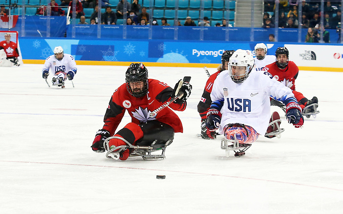 Pyeongchang, Korea, 18/3/2018-Greg Westlake compete in the gold medal ice game against the USA during the 2018 Paralympic Games. Photo: Scott Grant/Canadian Paralympic Committee.