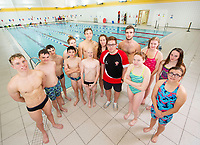 Picture by Allan McKenzie/SWpix.com - 02/10/2018 - Commercial - Swimming - Swimming Times - From the Coach Chris Dove, Catterick Sports & Leisure Centre, Catterick, England - Chris Dove with some of his Richamond Dales swimming team members.