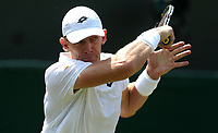 Kevin Anderson (RSA) during his victory over Philipp Kohlschreiber (GER) in their Gentleman's Singles Third Round match<br /> <br /> Photographer Rob Newell/CameraSport<br /> <br /> Wimbledon Lawn Tennis Championships - Day 5 - Friday 6th July 2018 -  All England Lawn Tennis and Croquet Club - Wimbledon - London - England<br /> <br /> World Copyright &not;&copy; 2017 CameraSport. All rights reserved. 43 Linden Ave. Countesthorpe. Leicester. England. LE8 5PG - Tel: +44 (0) 116 277 4147 - admin@camerasport.com - www.camerasport.com