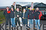 Celebrating their win at the finish of the Kerry Mini Stages rally outside Banna Beach Resort last Sunday evening were Wexford crew James Stafford and Amy Ryan, also pictured are l-r: Senan Raggett, KMC, Jakes Kelly, Clerk of the Course with Kerry Motor club officials Richard Talbot and Seamus O'Connor far Rt.