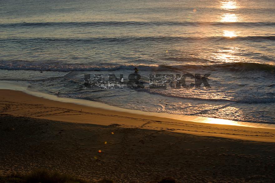 Surfer walking on beach at sunset at Indjinup Car Park, Western Australia