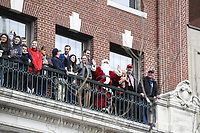 October 31, 2018: Fans stand on a balcony during the Boston Red Sox 2018 World Series championship celebration parade held in Boston, Mass.  Eric Canha/CSM